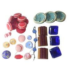 Art Deco bakelite, cut glass 31 pc vintage button lot