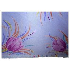 2 Yards 1970s-80s Polyester fabric - Magenta tulip sprays