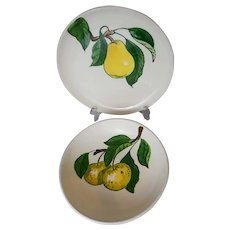 Metlox California Fruit Poppytrail handpainted pear plate and apple bowl