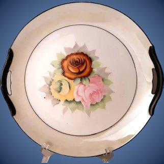 Hand painted 1930s Noritake roses plate w/handles, cream lustre