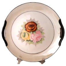 Noritake 1918 Hand painted roses plate w/handles, cream lustre | Antique