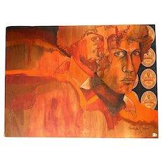 "23""x17"" original '74 mixed media painting Guinness labels 1970s orange portrait on wood"