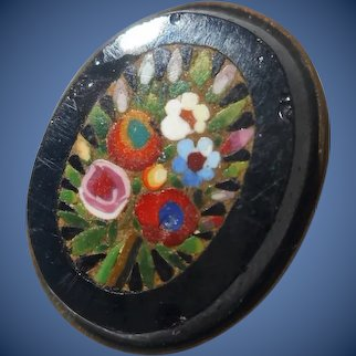 Antique fine pietra dura micro mosaic floral button | glass and brass