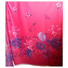 2.9 Yards 1970s-80s Polyester fabric - huge florals on pink