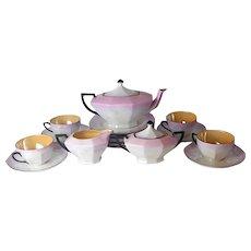 Rare 17pc Art Deco Victoria pink lustre porcelain luncheon set Czechoslovakia lustreware