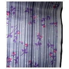 3.1 Yards 1970s-80s Polyester fabric - Pink/purple roses, striped