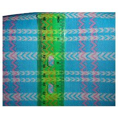 1.6 Yards 1970s double-knit Polyester fabric - Turquoise blue and pink plaid