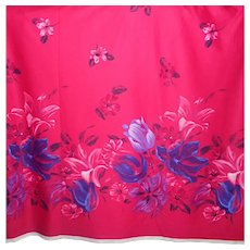 1.4 Yards 1970s-80s Polyester fabric - Bright raspberry pink, huge florals