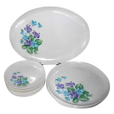 "13pc Royalon Corsage Melmac: 8 bread plates, 4 dinner plates, 13""x10"" platter NM-MINT set"