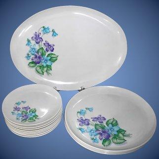 "13pc Royalon Corsage Melmac: 8 bread plates, 4 dinner plates, 13""x10"" platter NM-MINT set"