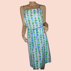 1970s-80s preppy Sea Waves seashell summer beach dress 16 L