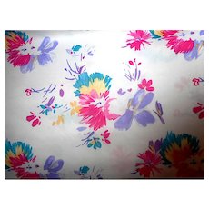 3.9 Yards 1970s-1980s Polyester fabric - painterly florals