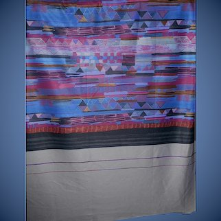 1.5 Yards 1970s-80s abstract art Polyester fabric - awesome pattern and colors