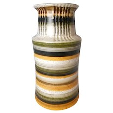 "Mid-century West German studio art pottery vase 8.5"" EX"