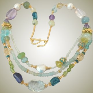 Handmade Multi strand Gemstones Freshwater Cultured Pearl Necklace Gold plated