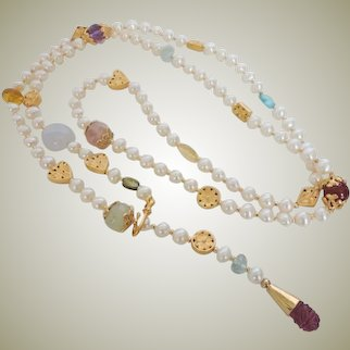 Long Adjustable freshwater Cultured Pearl Multi Gemstone Necklace gold plated