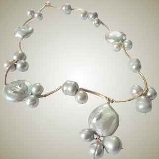 14k Gold filled soft Gray Freshwater Cultured Pearl Beaded Necklace