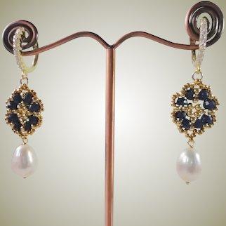 Blue Dye Sapphire Freshwater cultured Pearl Dangle Earrings Gold Plated