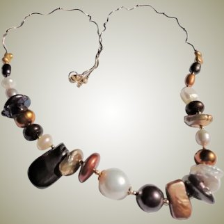 Multi-Color Dyed Freshwater Cultured Pearl Necklace 14k Gold Filled