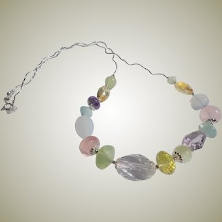 Genuine Multi Gemstone Necklace 925 Silver