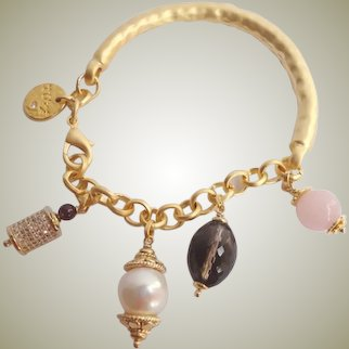 Gemstone freshwater cultured pearl Chain Charm Bracelets Gold Plated