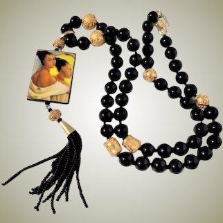 Hand Painted Pendant Black Onyx Beaded Long Tassel Necklace