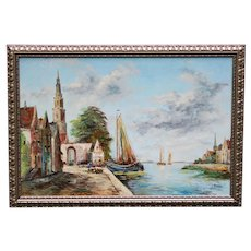 Large Antique French Nautical Original Oil Painting