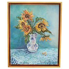 Sunflower Still Life Original Oil Painting
