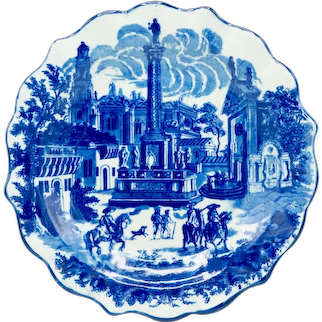 Ironstone Victoria Ware Blue and White Plate/Charger- Town Scene