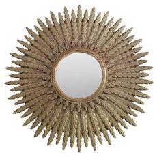 Large Vintage Hollywood Regency Golden Gilt Convex Sunburst Mirror