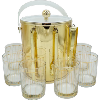 Culver Gold Pinstripe Low Ball Drinking Glasses (6), Ice Bucket, & Bar Tools