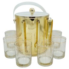 Gold Pinstriped Culver Low Ball Drinking Glasses (6), Ice Bucket, & Bar Tools