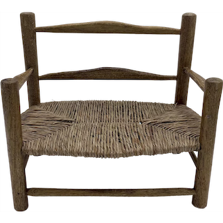 Miniature French Country Rope Seat Oak Toy Bench