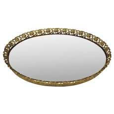 Mid 20th Century French Style Gold Floral Mirrored Vanity Tray