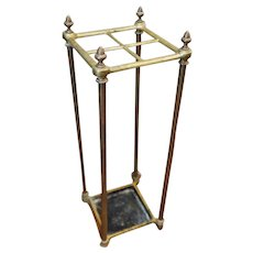 1940s Brass Iron Umbrella Stand