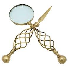 Mid-Century Letter Opener & Magnifying Glass Set