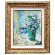 1970s Vintage Floral Impressionist Signed Original Oil Painting