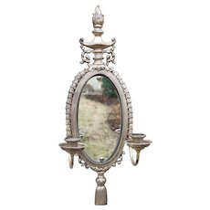 Large Silver French Oval Shaped Mirrored Sconce With Candlestick Holders