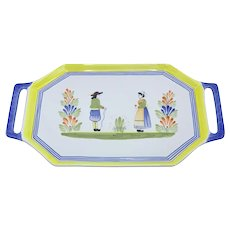 Quimper Serving Tray with Handles- The Breton Man and Woman
