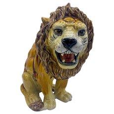 Oversized Italian Majolica Growling Lion