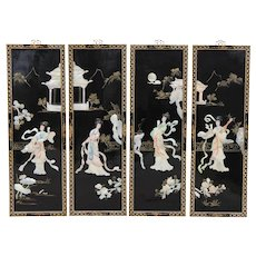 Mother of Pearl Wall Panels Depicting Images of a Geisha