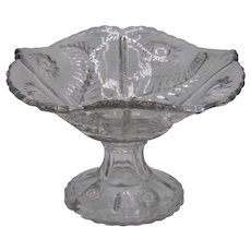 Midcentury French Cut Glass Crystal Decorative Compote Centerpiece Bowl