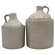 Antique Stoneware Crock Jugs - a Pair