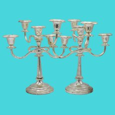 English Silver Plated Candelabras, a Pair