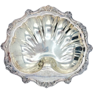 Mid Century Large Silver Plate Shell Dish