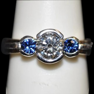 Handmade 14kt lab created Diamond and natural sapphire ring