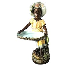Very large 19th Century French Barbotine Majolica African Figure 32 inches