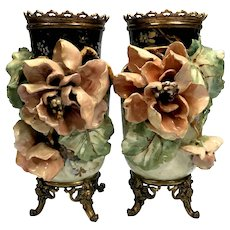 Eduard Gilles French Majolica Barbotine Vases with Bronze Mounts