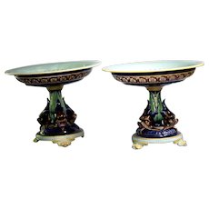 Pair of  French Majolica Compotes in Cobalt Blue from Sarreguemines