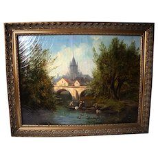 Mid 19th Century French Landscape Oil Painting Joyant